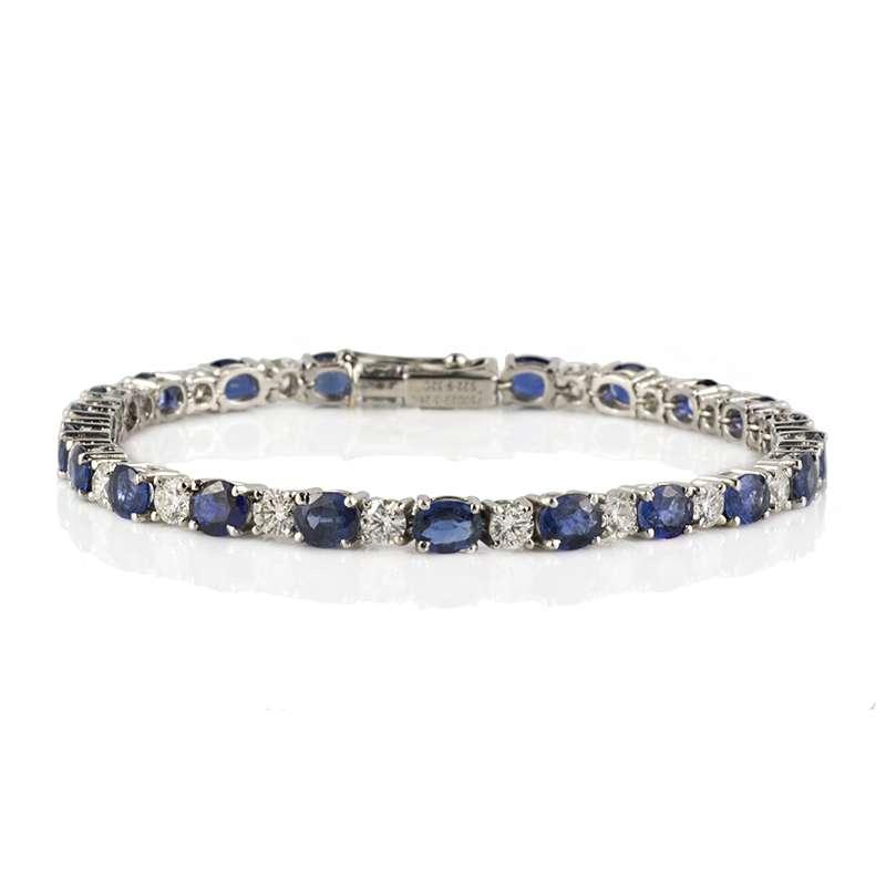 18k White Gold Diamond and Sapphire Line Bracelet